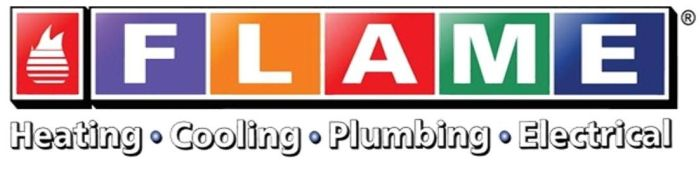 Flame Heating, Cooling, Plumbing and Electrical Logo